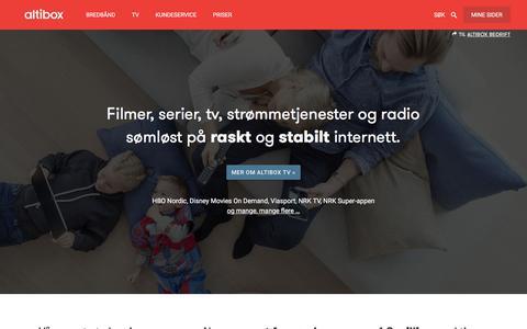 Screenshot of Home Page altibox.no - Altibox - www.altibox.no - captured Sept. 22, 2018