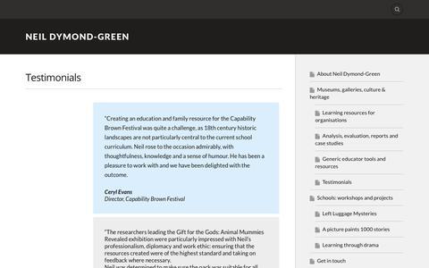 Screenshot of Testimonials Page wordpress.com - Testimonials – Neil Dymond-Green - captured Oct. 23, 2017