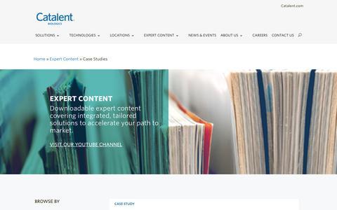 Screenshot of Case Studies Page catalent.com - Case Studies - Catalent Biologics - captured Dec. 8, 2018