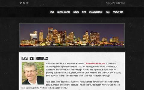 Screenshot of Testimonials Page iergblog.org - Testimonials -                IERG Boston Blog - captured Oct. 6, 2014