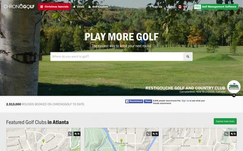 Screenshot of Home Page chronogolf.ca - Best Golf Courses, Discounted Tee Time in Canada | CHRONOGOLF - captured Jan. 14, 2016