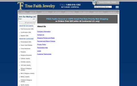 Screenshot of About Page truefaithjewelry.com - General Information and Policies - captured Sept. 28, 2018