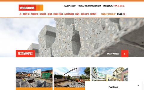 Screenshot of Testimonials Page milbank.co.uk - Testimonials | Precast Concrete, Essex | Milbank Concrete Products - captured Dec. 20, 2018