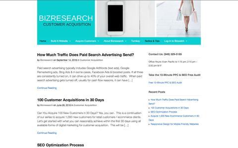 Screenshot of Blog bizresearch.com - Customer Acquisition Tactics & Tips - Bizresearch - captured Dec. 25, 2016
