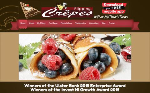 Screenshot of Home Page flippingcrepes.co.uk - Flipping Crepes Wedding & Birthday Caterers Belfast, Ballymena & Northern Ireland - captured Aug. 13, 2018