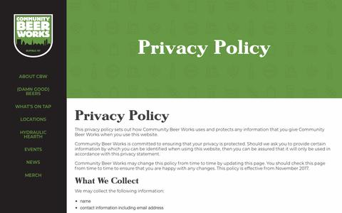 Screenshot of Privacy Page communitybeerworks.com - Privacy Policy - Community Beer Works - captured July 19, 2018