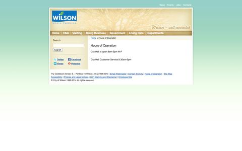 Screenshot of Hours Page wilsonnc.org - City of Wilson, North Carolina :: Hours of Operation - captured Oct. 2, 2014