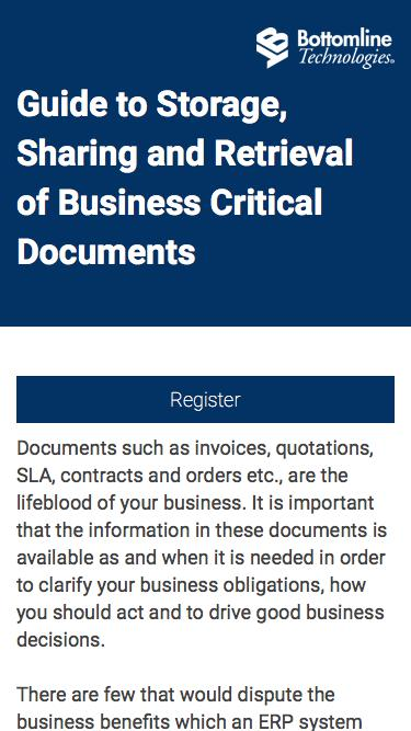 Storage, sharing and retrieval of business critical documents