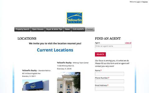 Screenshot of Locations Page yellowfinrealty.com - Locations |  Yellowfin Realty - Commercial and Residential Florida Real Estate Company - captured Nov. 18, 2016