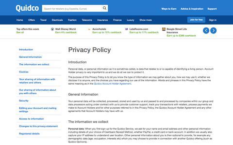 Screenshot of Privacy Page quidco.com - Quidco - The UK's #1 Cashback Site - captured April 1, 2018