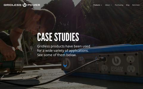 Screenshot of Case Studies Page gridless.com - Uses   Gridless Power - captured Sept. 23, 2017