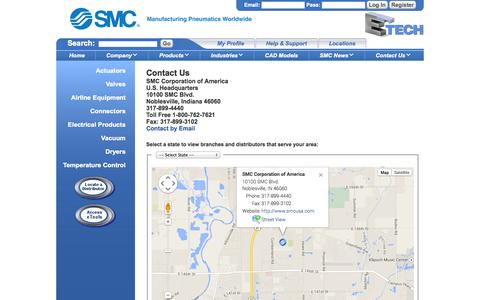 Screenshot of Contact Page Support Page Locations Page smcusa.com - SMC is the global leader in industrial automation. 800-762-7621 - captured Oct. 26, 2014
