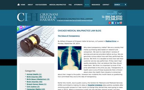 Screenshot of Blog cirignani.com - Chicago Medical Malpractice Law Blog | Cirignani Heller & Harman, LLP - captured Oct. 2, 2014