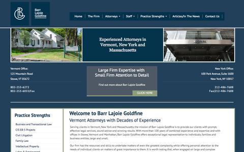 Screenshot of Home Page barrlaw.com - Vermont Attorney Barr Lajoie Goldfine - Home - captured Oct. 5, 2014