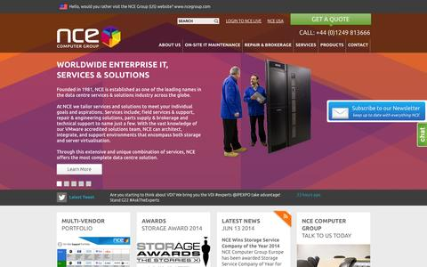 Screenshot of Home Page nceeurope.com - NCE Computer Group (Europe):Data Centre Support & Service Specialists - captured Oct. 7, 2014
