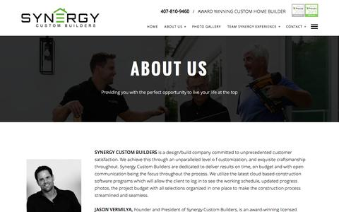 Screenshot of About Page synergycustombuilders.com - About Us - Synergy Custom Builders - captured Dec. 19, 2016