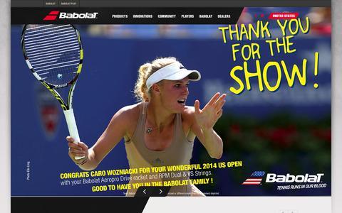 Screenshot of Home Page babolat.us - Babolat - captured Sept. 23, 2014