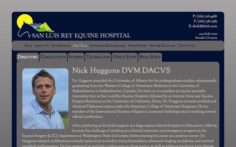 Screenshot of Team Page slreh.com - Our Team - San Luis Rey Equine Hospital - captured Oct. 4, 2014