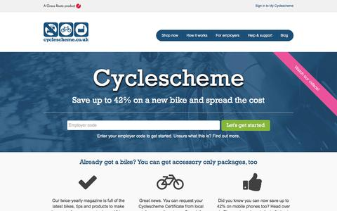 Screenshot of Home Page cyclescheme.co.uk - Tax free bikes for work through the Government's Green Transport Initiative - Cyclescheme, provider of Cycle to Work schemes for UK employers - Cyclescheme - captured July 16, 2016
