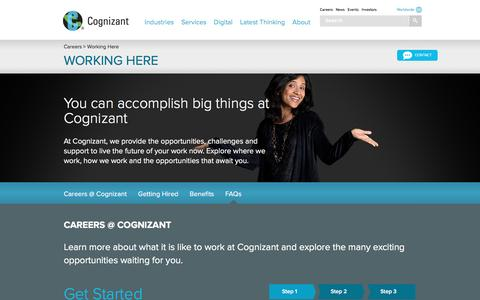 Screenshot of FAQ Page cognizant.com - Working at Cognizant - Global Careers with Cognizant, IT Career Benefits - captured April 20, 2016