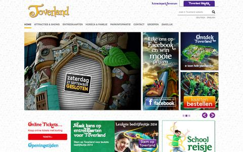 Screenshot of Home Page Menu Page toverland.nl - Attractiepark Toverland | ★ Beleef een magisch avontuur! ★ - captured Sept. 23, 2014