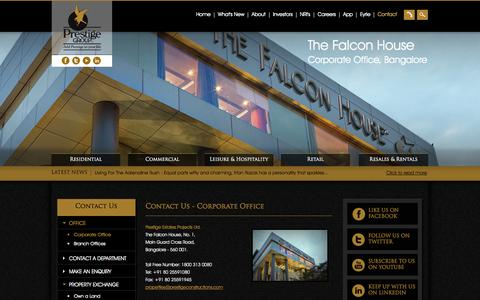 Screenshot of Contact Page prestigeconstructions.com - Corporate Office Address - Prestige Group - captured Sept. 25, 2014