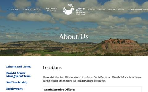 Screenshot of Locations Page lssnd.org - Lutheran Social Services of North Dakota : About Us : Locations - captured Feb. 2, 2016