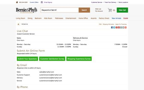 Screenshot of Contact Page Support Page bernieandphyls.com - Contact Us - captured Oct. 23, 2014