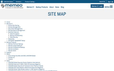 Screenshot of Site Map Page memeo.com - Memeo :: Site Map - captured July 3, 2016