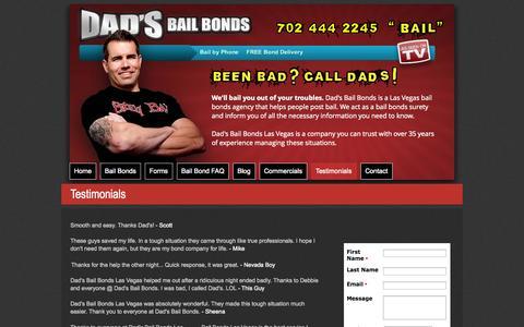 Screenshot of Testimonials Page dadslv.com - Testimonials - Reviews - Reflections |  Las Vegas, NV - captured Oct. 5, 2014
