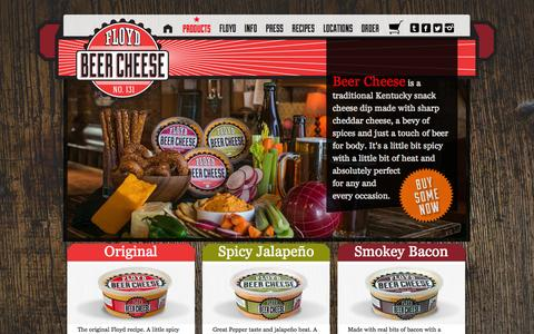 Screenshot of Products Page floydeats.com - Floyd Beer Cheese | Products - captured Sept. 30, 2014