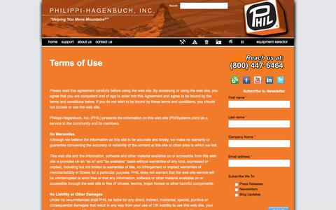 Screenshot of Terms Page philsystems.com - Terms of Use - Philippi-Hagenbuch - Custom equipment for off-highway haul trucks - captured Nov. 6, 2016