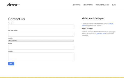 Screenshot of Contact Page virtru.com - Contact Us   Virtru - captured Sept. 17, 2014