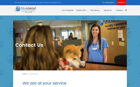 Screenshot of Contact Page bluepearlvet.com - Contact Us - - captured July 3, 2016