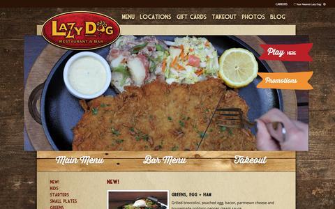 Screenshot of Menu Page lazydogrestaurants.com - Lazy Dog Restaurant & Bar | Menu - captured Jan. 27, 2016