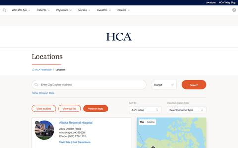 Screenshot of Locations Page hcahealthcare.com - Locations | HCA Healthcare - captured July 28, 2017