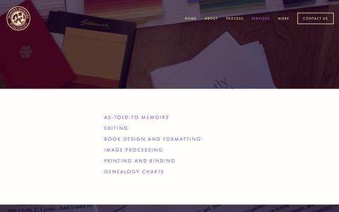 Screenshot of Services Page modernmemoirs.com - Services Ń Modern Memoirs, Inc. - captured Jan. 10, 2016
