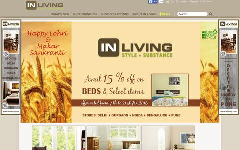 Screenshot of Home Page inliving.com - Furniture Online - Solid Wood Furniture, Sheesham Wood Furniture - captured Jan. 8, 2016