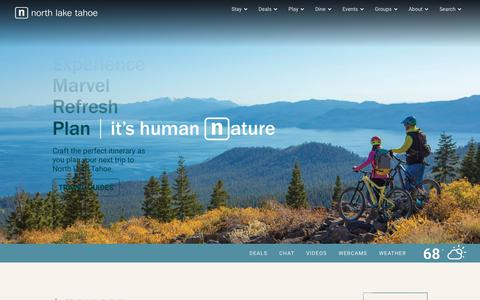 Screenshot of Home Page gotahoenorth.com - Plan the perfect Lake Tahoe vacation | Go Tahoe North - captured Sept. 22, 2018