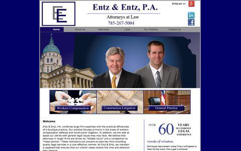 Screenshot of Home Page entzlaw.com - Kansas Defense Attorneys - captured Oct. 3, 2014