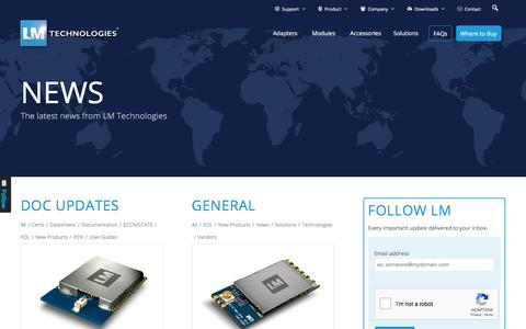 Screenshot of Press Page lm-technologies.com - News - Bluetooth and WiFi Modules and Adapters - LM Technologies - captured Dec. 11, 2019