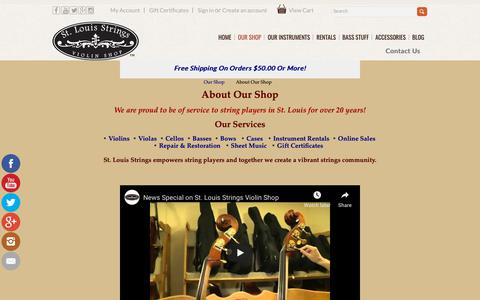 Screenshot of About Page stlstrings.com - Shop Introduction - captured Oct. 23, 2018