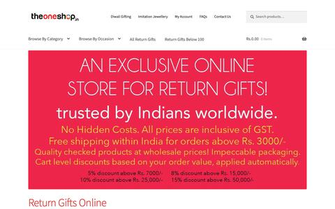Screenshot of Home Page theoneshop.in - Buy Return Gifts Online at Wholesale Prices - The One Shop - captured Oct. 27, 2018