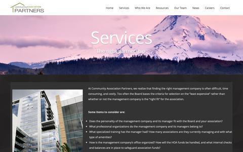 Screenshot of Services Page capartners.net - Services | Community Association Partners, LLC - captured Sept. 29, 2018