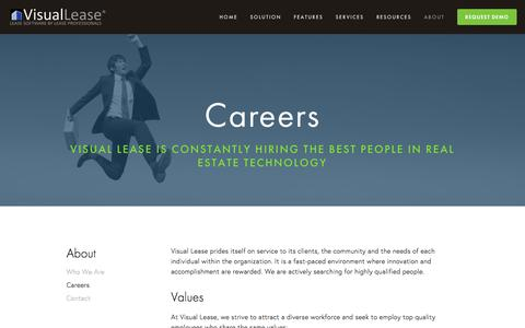 Screenshot of Jobs Page visuallease.com - Careers Ń Lease Administration Software, Lease Management Software, Lease Abstract Software, Lease Software - captured Jan. 11, 2016
