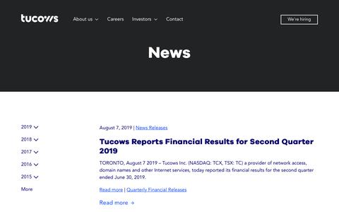 Screenshot of Press Page tucows.com captured Oct. 9, 2019