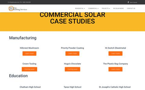 Screenshot of Case Studies Page rksolar.net - Commercial Solar Case Studies - RK Solar - captured April 25, 2019