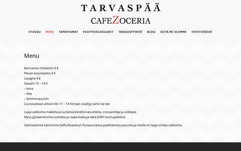 Screenshot of Menu Page tarvaspaa.fi - Menu – Tarvaspää Cafe Zoceria | Gallen-Kallelan tie 27, Espoo. - captured Sept. 27, 2018