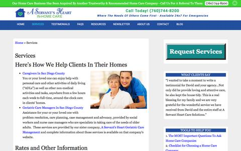 Screenshot of Services Page trustworthycare.com - Services For The Elderly In San Diego County - captured Jan. 28, 2016