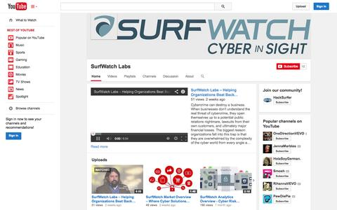 Screenshot of YouTube Page youtube.com - SurfWatch Labs  - YouTube - captured Oct. 25, 2014